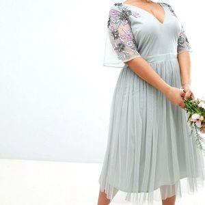 ASOS Maya Plus Embellished Sleeve Tulle Dress